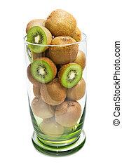 Kiwi fruit in the glass bowl on white background