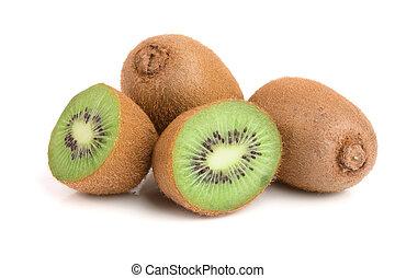 Kiwi fruit isolated on white background, close-up