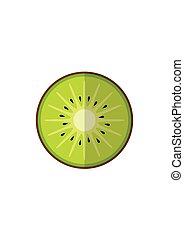 Kiwi fruit isolated on white background in flat style.