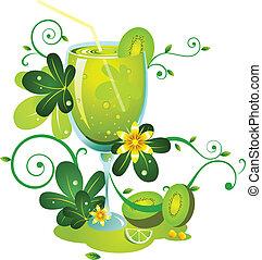 kiwi fruit juice - a image of green kiwi fruit juice