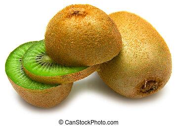 kiwi fruit on a white background. Isolation on white
