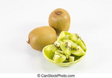 Kiwi fruit on white background,