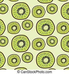 Kiwi Fruit Pattern Background. Vector Illustration.