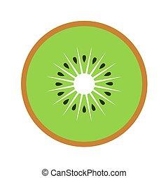 Kiwi fruit slice closeup icon, green round piece of kiwi. Logo design, flat vector illustration.