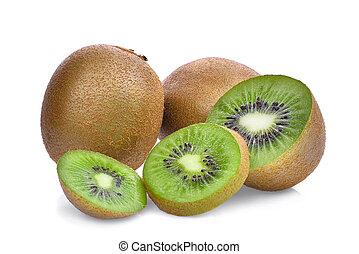 kiwi fruit, vrijstaand, op wit, achtergrond.