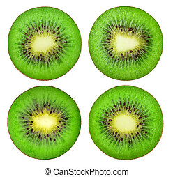 kiwi fruit, vrijstaand, verzameling, schijfen
