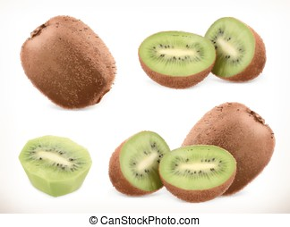 Kiwi fruit. Whole and pieces. Sweet fruit. 3d vector icons set. Realistic illustration
