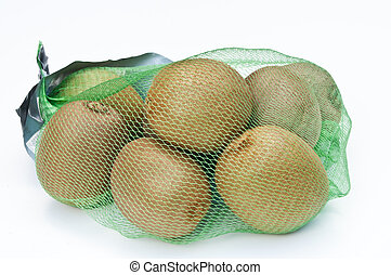 Kiwi fruits in a net bag on a white background