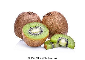 kiwi frukt, isolerat, vita, bakgrund.
