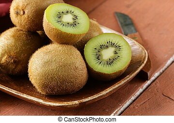 kiwi, fruta fresca, maduro, dulce