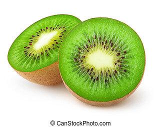 kiwi, halves, knippen, vrijstaand, fruit