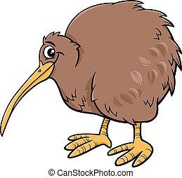 kiwi, illustartion, fugl, cartoon