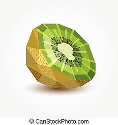 kiwi, illustration., polígono, vector