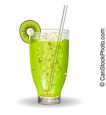 kiwi, illustration., verre, glace, straw., jus, vecteur