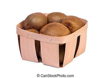 Kiwi in a wooden box.