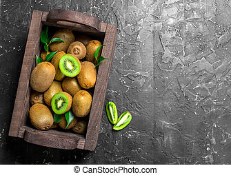 Kiwi in a wooden box.
