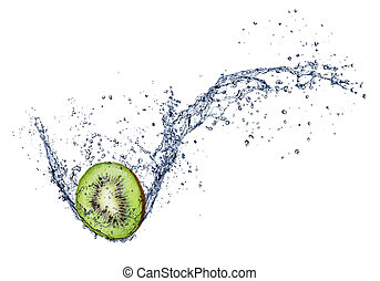 kiwi, in, vatten, plaska, isolerat, vita, bakgrund