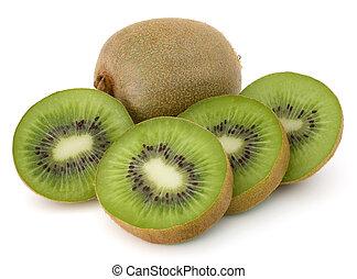 kiwi, isolé, coupé, fruit, fond, blanc, coupure