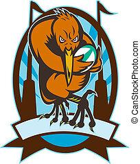 kiwi, joueur rugby, courant, à, balle, et, poteau but, ensemble, intérieur, une, ovale