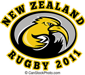 kiwi, joueur rugby, courant, à, balle