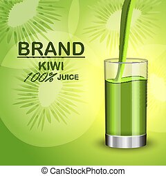 Kiwi juice in glass concept background, realistic style
