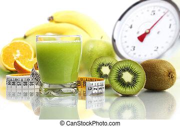 kiwi juice in glass, fruit meter scales diet food