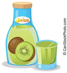 Kiwi juice in the bottle
