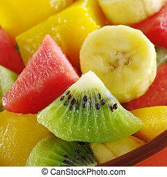 kiwi, kiwi, slaatje, mango, kom, brandpunt, stukken, tropische , sinaasappel, brandpunt, fruit, watermeloen, slice), gezonde , (selective, fris, banaan, uit