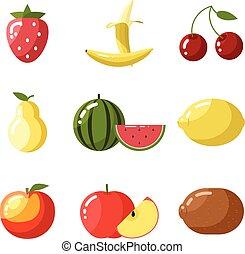 kiwi, lägenhet, design, citron, äpple, persika, ikonen, hälsosam, körsbär, päron, illustration, jordgubbe, mat, frukt, vektor, vattenmelon, frisk, naturlig, banan, vitamins
