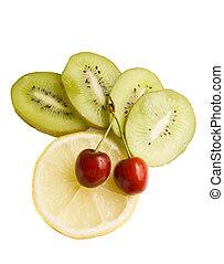 kiwi lemon cherry slice