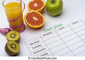 kiwi, maçã, experiência., papel, toranja, dieta, logo, vidro, juice., plano, laranja, fresco, branca, pedaço, centímetro