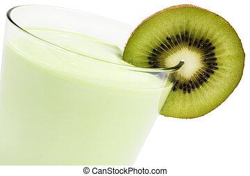 kiwi milkshake with a blade of kiwifruit on white background