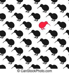 kiwi, modello, uccello, seamless