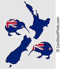 kiwi, nuevo, zealands
