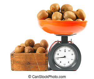 Kiwi on scales and in a box
