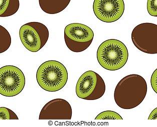 kiwi, padrão, -, seamless, ilustração, fruta, vetorial, fundo, branca