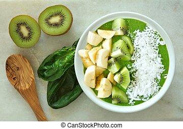 kiwi, plátanos, espinaca, Zalamero, tazón, coco, verde