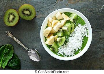 kiwi, plátanos, espinaca, Zalamero, tazón, verde
