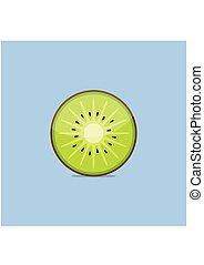 kiwi, plano, azul, aislado, fruta, plano de fondo, style.