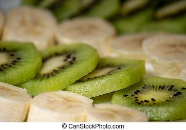 kiwi, plaque, gros plan, banane, morceaux