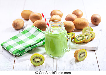 kiwi, pot, smoothie