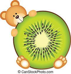 kiwi, rebanada, comida, oso, teddy