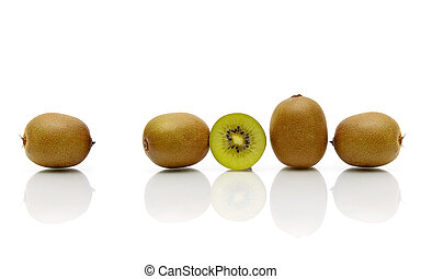 kiwi, rijp, vrijstaand, achtergrond., fruit, witte