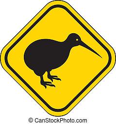 kiwi road sign, kiwi yellow sign