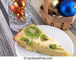 kiwi, sabroso, pastel, con, navidad, pelotas, conjunto