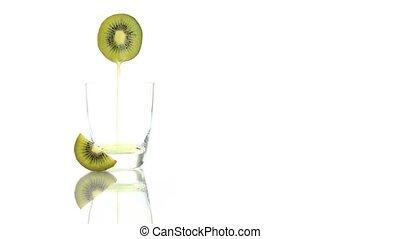 kiwi, sap, geregen, in, de, glas