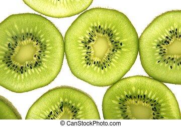 kiwi, schijfen, op, transparant, witte