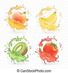 kiwi, set, perzik, fruit, abrikoos, tomaat, realistisch, vector, juice., plonsen, vruchten, fris, banaan, pictogram