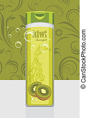 Kiwi shampoo. Ornamental background