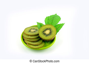 kiwi slice on white